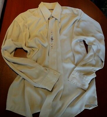 MEN'S BUSINESS CASUAL SHIRT SIZE S LONG SLEEVE BEIGE pre-owned