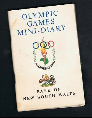 Melbourne 1956 Olympic Games Mini-Diary. Bank Of New South Wales.