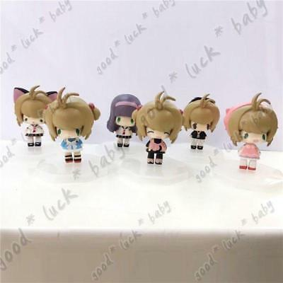 6pcs Card Captor Sakura Kinomoto Sakura Tomoyo Daidouji Peas Figure New In Box