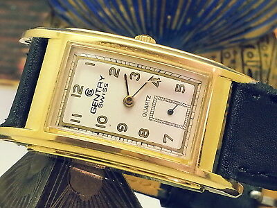 VINTAGE SPECIALTY 1970s GENTRY-SWISS RARE UNIQUE MENS WATCH W/ 2-LUG SETTINGS