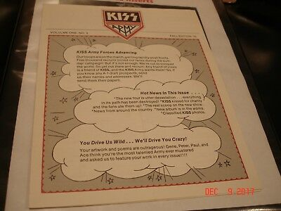 KISS - Kiss Army Newsletter Vol One #3  Fall 1976  Edition   Rock & Roll Over!!