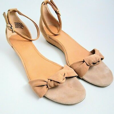 89e1b814f0d2 J CREW FACTORY Womens Suede Demi-Wedge Sandals With Top Knot Tan 8.5 ...