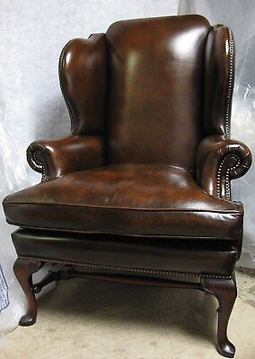 Millbrook Chesterfield Style Antique Brown Leather Armchair with Queen Anne Legs