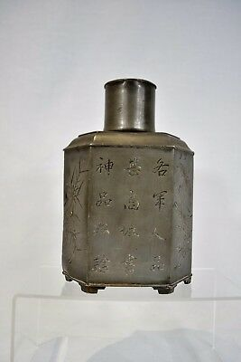 Antique Chinese Oriental Pewter Tea Caddy Poem Calligraphy Script Marked