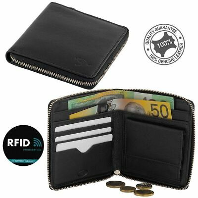RFID Men's Genuine Full Grain Soft Cowhide Leather Zip Around Wallet Black New