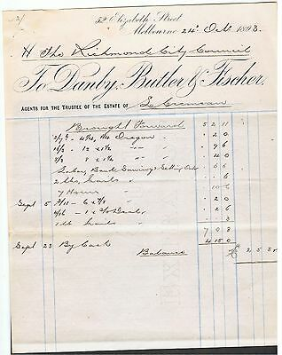 Invoice Issued In 1893 By Danby Butler & Fischer Melbourne Solicitors. Scarce.