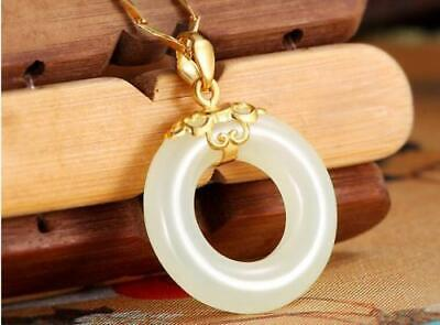Chinese Natural White Color Jade Hand-carved Harmony Lucky Round Pendant