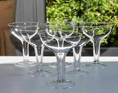 Set of 6 Vintage Crystal Champagne Coupes/Sherbets, Art Deco Hollow Stems 11.3cm