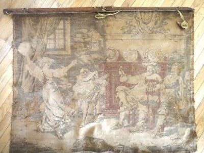 "1800s (or earlier) antique TAPESTRY 48""x38"" DOG,TAVERN,EAGLE,WOMAN DANCING,MINST"