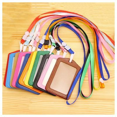 2 x ID  Pocket Card Pass Badge Holders Case With Neck Strap Lanyard, vertical