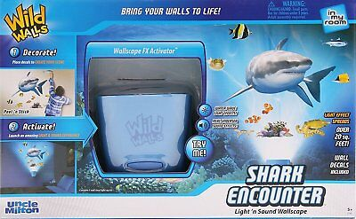 In My Room Wild Walls Shark Encounter Wall Decal Light & Sound Show Room Décor