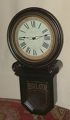 Sterling & Noble Ebony and Gold Wooden Wall Clock - IOB, Very Nice Condition