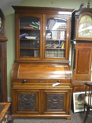 Stunning quality rolltop bookcase bureau
