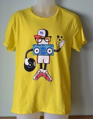 Vintage  Mens T shirt  yellow retro style  Old Skool Tees size L
