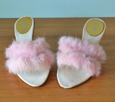 Vintage pinup girls 50s pink fur heeled slippers size 7