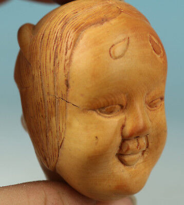 Chinese Old Wood Handmade Devil and Lucky god Collect Statue Decoration