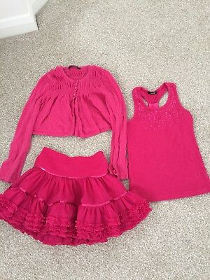 George Girls pink Party Skirt/Tutu & Sequin top & cardigan Age 6-7 years