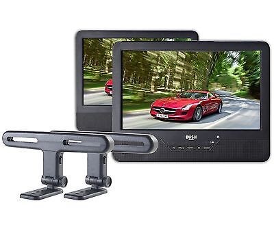 """Dual 7"""" (Independent) In Car Portable DVD Players + Mountings"""