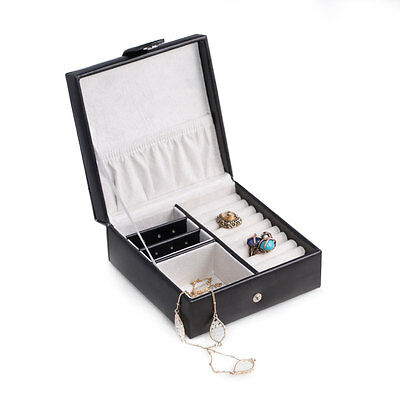 Bey-Berk Black Quilted Leather Jewelry Box for Rings earrings with Snap Closure