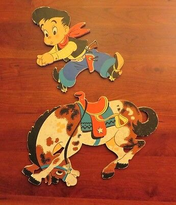 Vintage 1950's The Dolly Toy Company Cowboy Wall Hanging