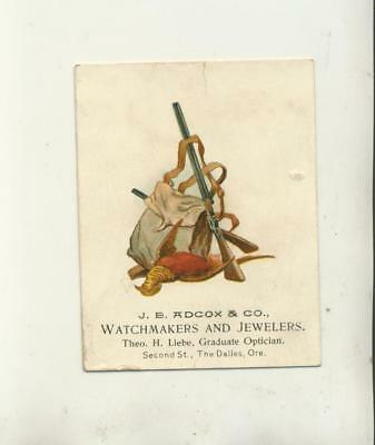 J E Adcox & Co Watchmaker & Jewelers The Dalles Oregon Advertising Trade Card