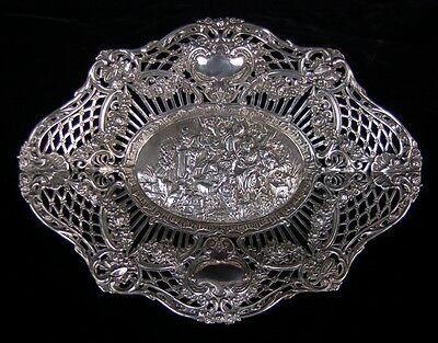 Antique German Pierced Basket Country Picnic w Musicians .800 Sterling Silver