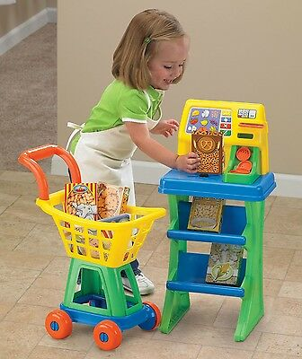 Kids Grocery Store Shopping Cart Toy Play Set Food Cash Register Market Shop New
