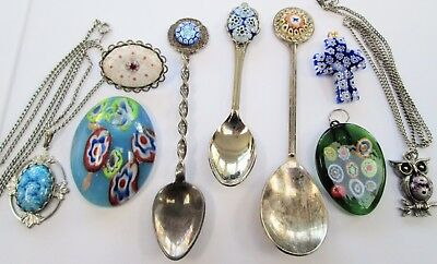 Five good vintage millefiore glass pendants + 3 spoons + brooch
