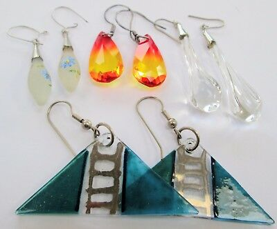 Four pairs beautiful vintage glass pendant earrings