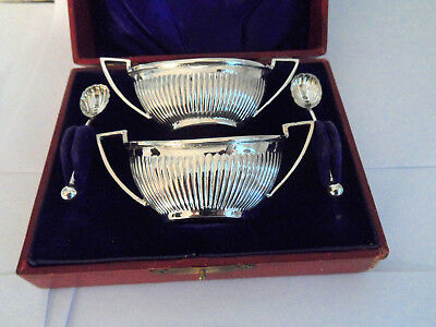 Victorian  Boxed Silver Pair Open  Fluted Salts Queen Anne Style Hm 1899 + Spoon
