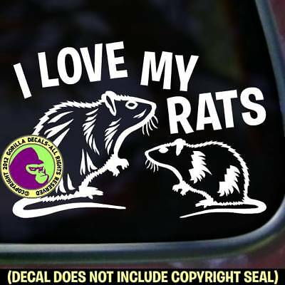 LOVE MY RATS Vinyl Decal Sticker Pet Love Rat Rodent Car Window Wall Laptop Sign