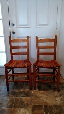 Pair of vintage slatted, ladderback chairs, Beautiful!
