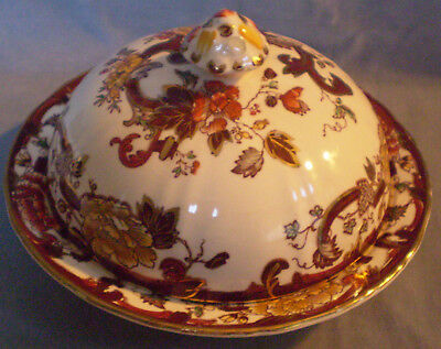 Vintage Masons Ironstone Brown Velvet Muffin Dish with Lid     VGC