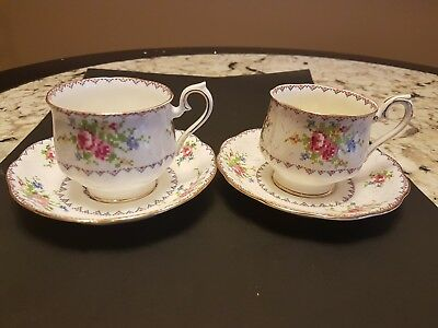 "Two Vintage Royal Albert ""petite Point"" Cup And Saucer Sets"