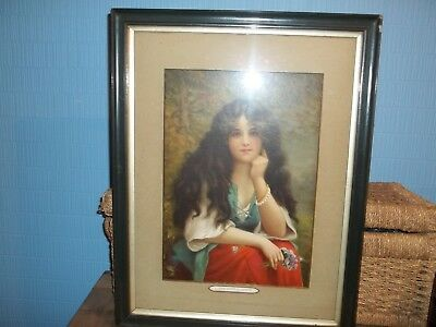 """Antique Wooden Framed """"Gipsy Maid"""" Picture. Length 23"""" Width 17.5"""" inches."""