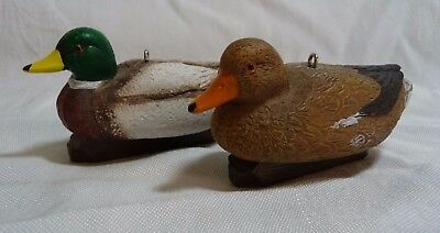 Ornaments Mallard Ducks Drake and Hen with Keel Weight Resin Hunters LOOK