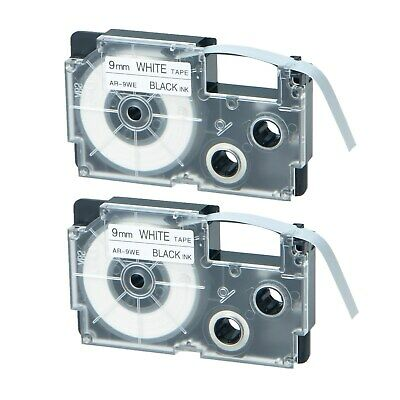 "2PK XR-9WE Black on White Label Tape for Casio KL-780 750B 7200 1500 3/8"" 9mm"