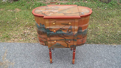 C Vintage Artist Signed Sewing Cabinet Stand Marie Colette Chester County PA