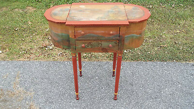 C Vintage Artist Decorated Sewing Cabinet Stand Marie Colette Chester County PA