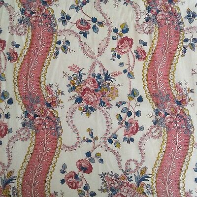 "Antique French c1920 Pink Floral Ribbon Baskets Cotton Fabric Panel W24""xL32"""