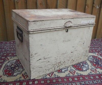 Vintage Metal~Tin Deed Storage Tool Box ~Military Issue~Handles~Weathered Patina