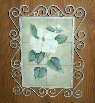 Primitive Chippy Chic Vintage Indoor Outdoor Iron & Tile Wall Hanging Of Flower