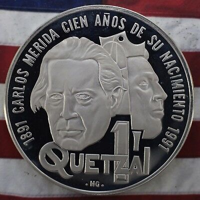 Kappyscoins 1992 Gem  Cameo Proof Guatemala Silver Quetzal