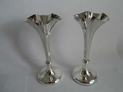 Antique Pair Pretty Fluted Shape Silver Spill / Bud Vases Hm Londs 1903  4 Inche