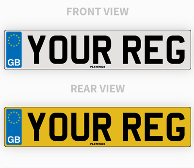 Pair GB Standard Car Number Plates 100% MOT Compliant Road Legal HIGH QUALITY