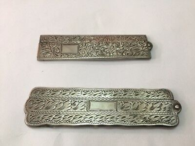 Pair Of Antique Silver Comb Holders Stamped Great Condition