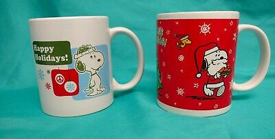 Lot of 2 Snoopy Woodstock Peanuts Christmas MUGS