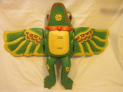 "HAND CARVED & PAINTED 31"" x 24"" FLYING FROG BALINESE FOLK ART FROM ALBESIA WOOD"