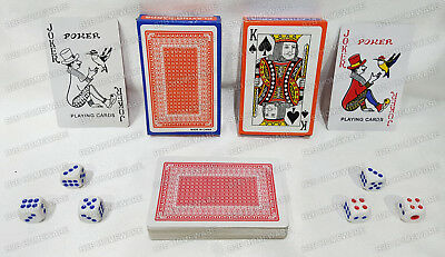 2 X Pack Of Decks Plastic Coated Playing Cards 6 Dice Red Blue Poker Game New