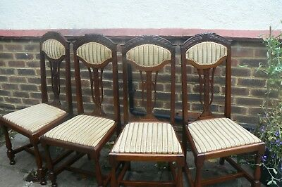 Arts & Crafts/art Nouveau Set Of Four Dining Chairs Circa 1900